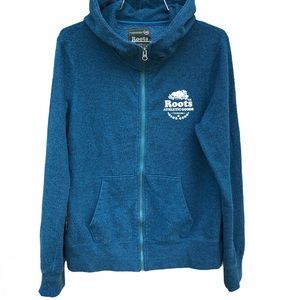 Roots Canada Full Zip Jacket Top Blue Medium